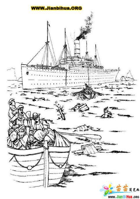 泰坦尼克号线条画简笔画30张 第26张