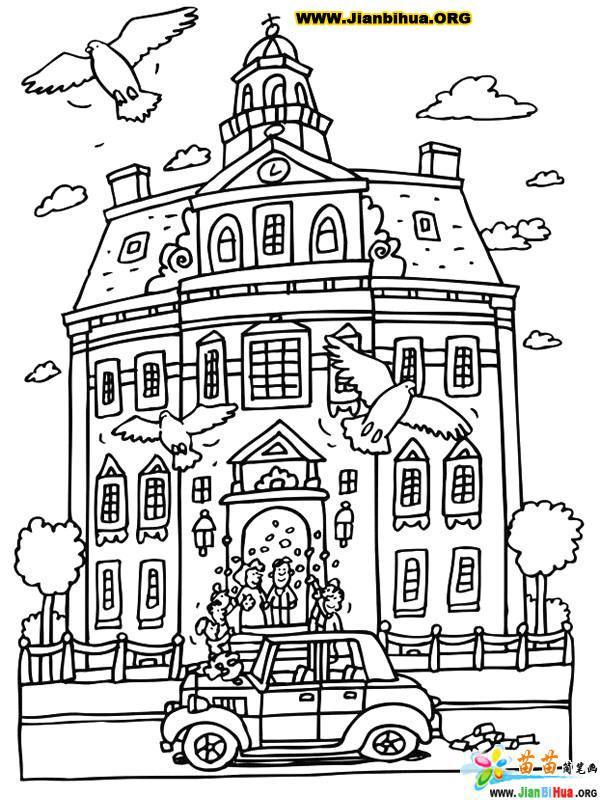 怎么画学校的简笔画图片_学校简笔画图片