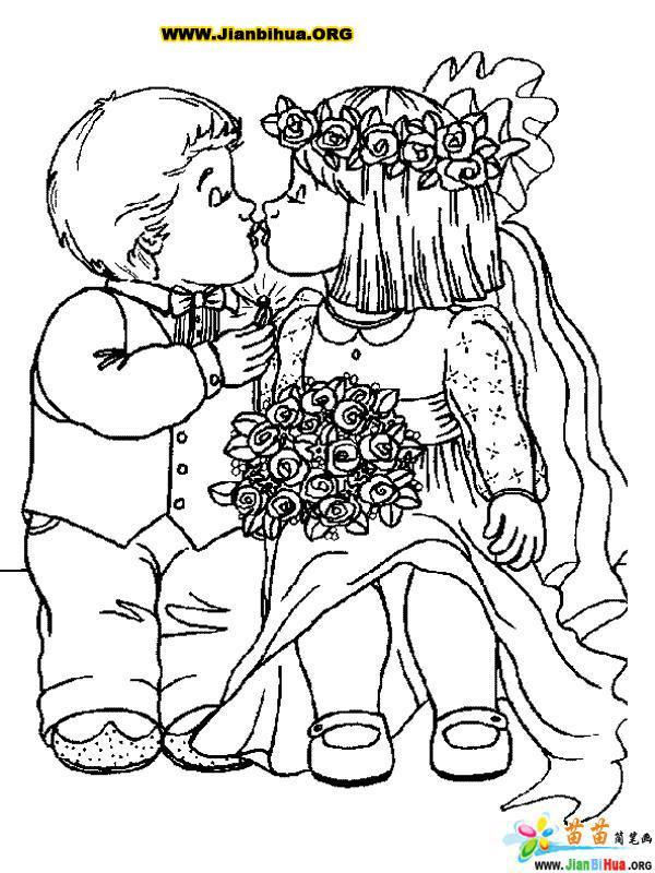 爱情与结婚主题简笔画34张 第14张
