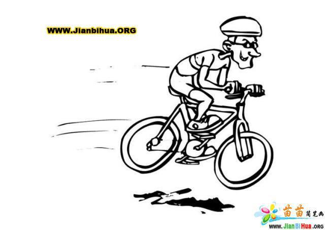 女生骑自行车简笔画_女骑自行车画卡通图片