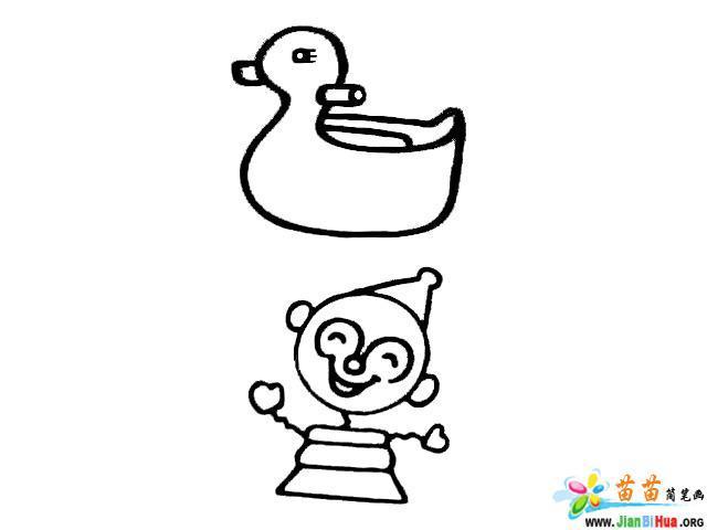 小鸭子简笔画 木马简笔画 机器人简笔画