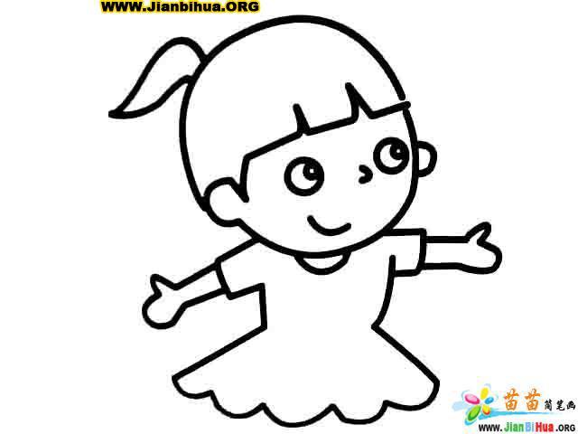 画小女孩的简笔画图片