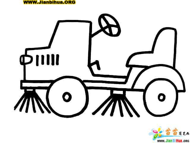摩托车简笔画 面包车简笔画 清洁车简笔画 小卡车简笔画 第3张