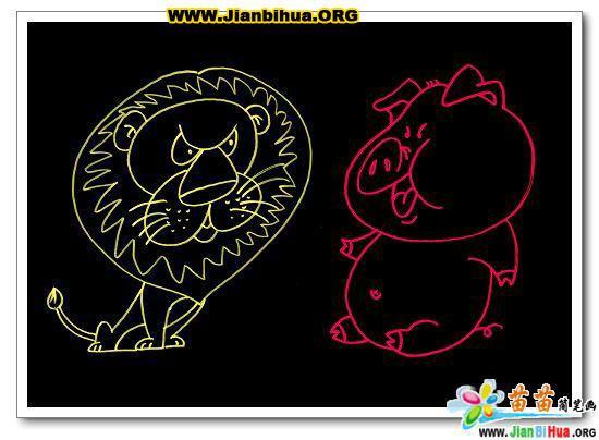狮子简笔画_小猪简笔画_乌龟简笔画_兔子简笔画图片