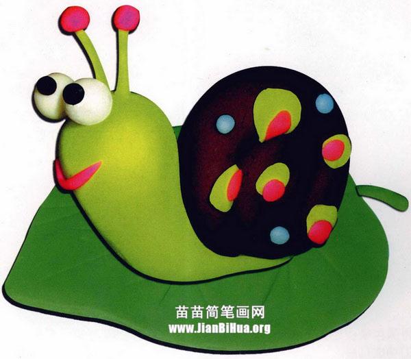橡皮泥手工制作教程:蜗牛